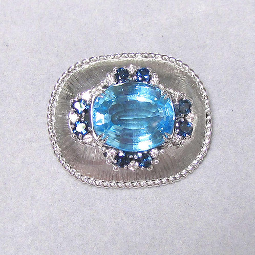 Large White Gold Blue Topaz, Diamond and Sapphire Brooch