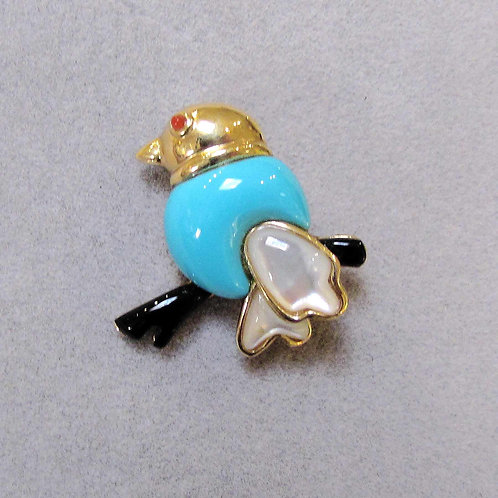 Small 14K Bird Pin with Turquoise, Mother of Pearl, Onyx and Coral