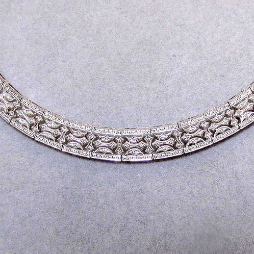 Vintage-Style White Gold Openwork Diamond Collar Necklace