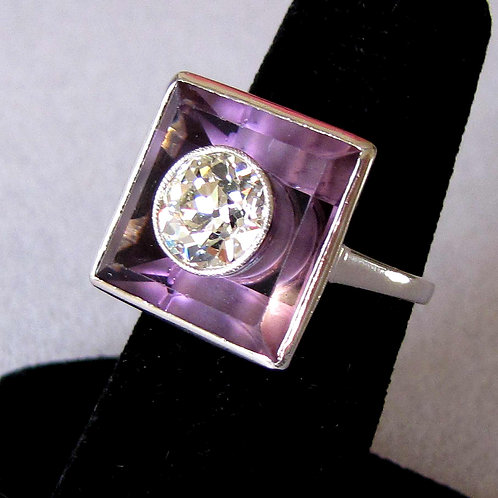 Art Deco Diamond and Amethyst Square Top Ring