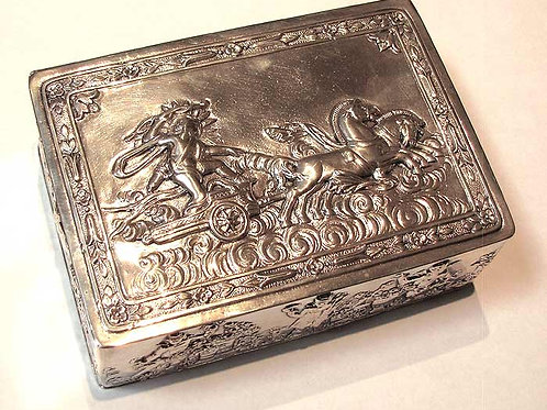 Antique German 800 Silver Box-Neoclassical Theme