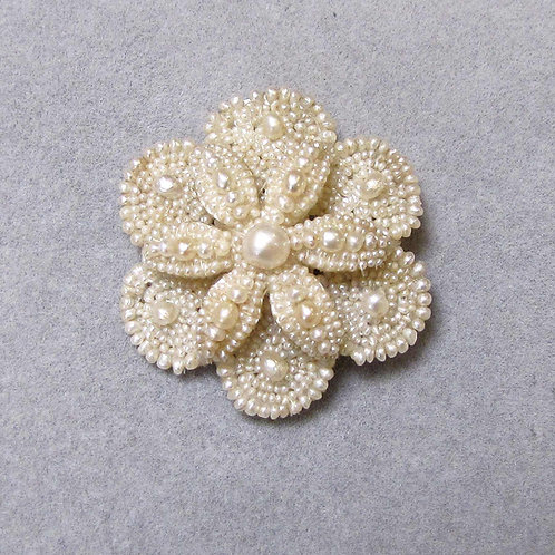Antique Mid-19th Century Seed Pearl Flower Pin