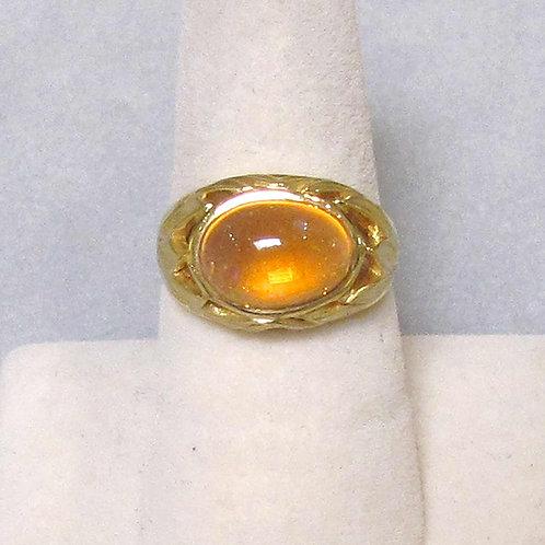 18K Leaf Motif Fire Opal Ring