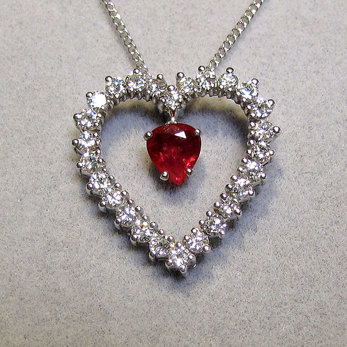 White Gold Ruby and Diamond Heart Pendant