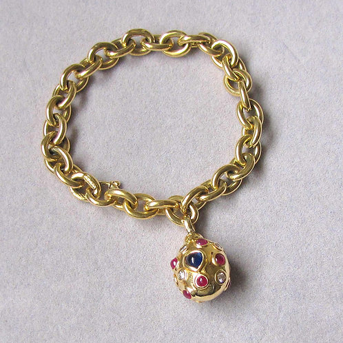 18K Link Bracelet with Diamond, Ruby and Sapphire Charm