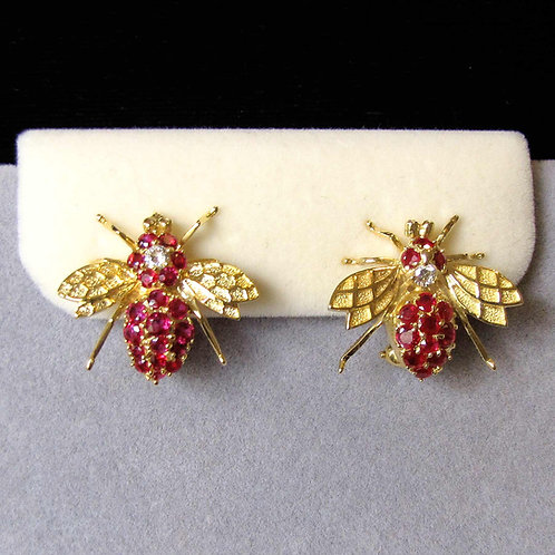 14K Ruby and Diamond Bee Earrings