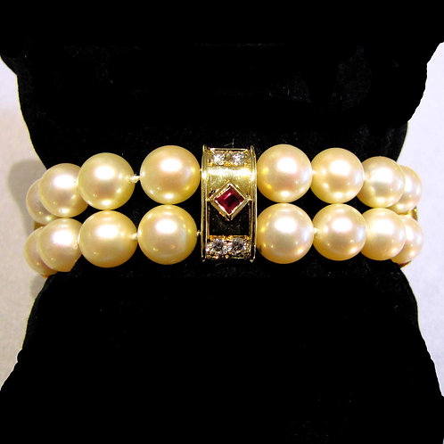 Double Strand Pearl Bracelet with Fancy Ruby and Diamond Spacers and Clasp