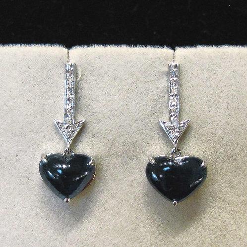 White Gold Heart Shape Sapphire and Diamond Arrow Earrings