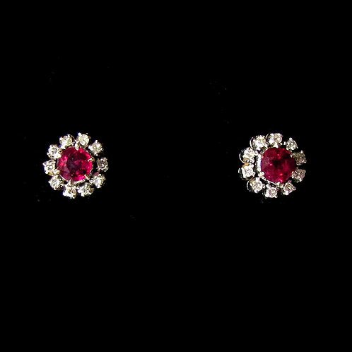White Gold Ruby and Diamond Round Halo Stud Earrings