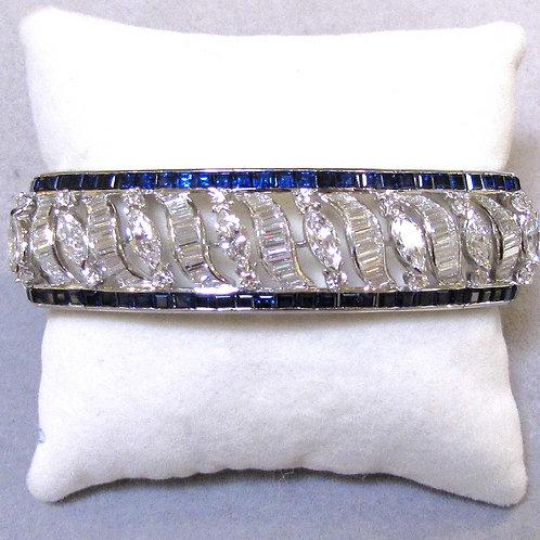 Platinum Diamond and Sapphire Link Bracelet