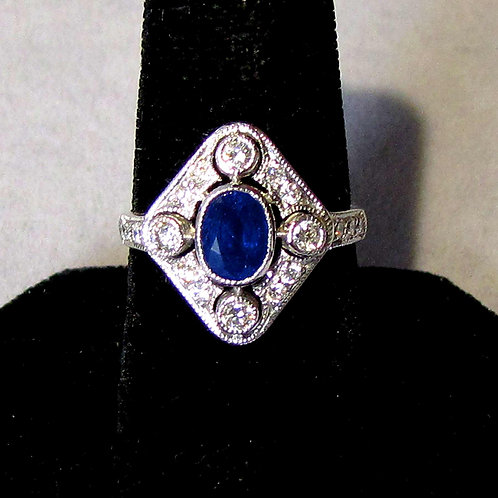Antique 18K White Gold Sapphire and Diamond Ring