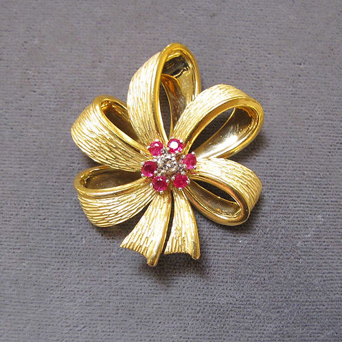 Tiffany & Co. 18K Diamond & Ruby Bow Brooch