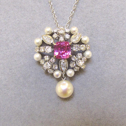 White Gold Pink Sapphire, Diamond and Pearl Drop Pendant