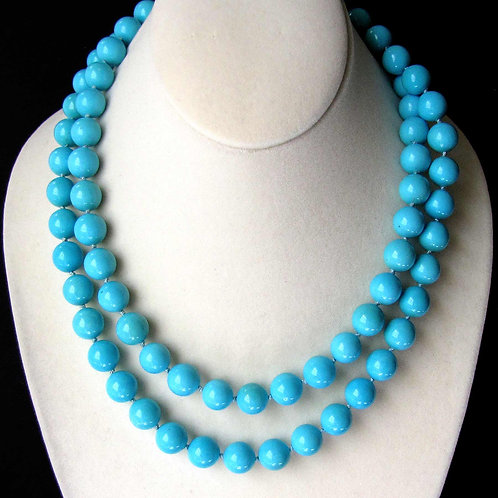 "36"" Fine Turquoise Bead Necklace with Yellow Gold Diamond Clasp"