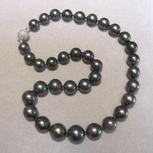 Graduated Tahitian Pearl Necklace with Diamond Clasp