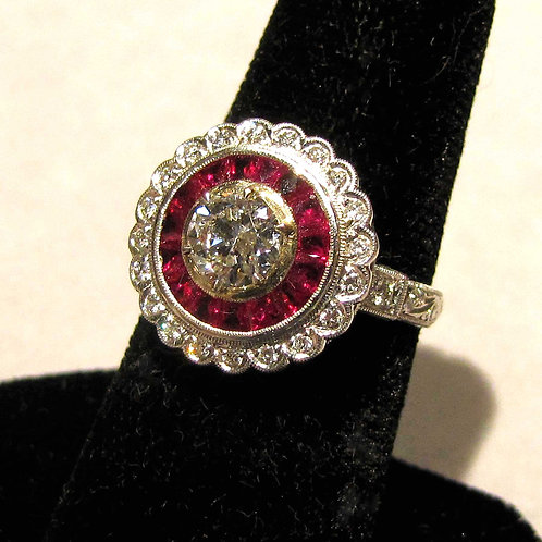 Round Art Deco Style Diamond and Ruby Ring