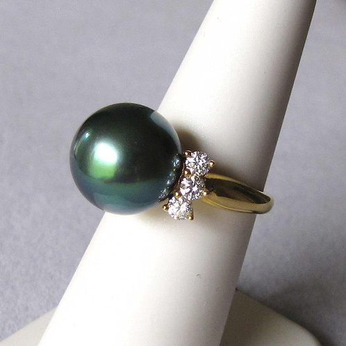 18K Peacock Tone Tahitian Pearl and Diamond Ring
