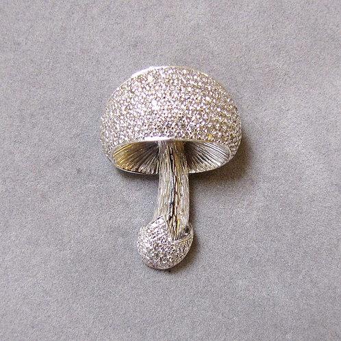 White Gold and Diamond Mushroom Brooch