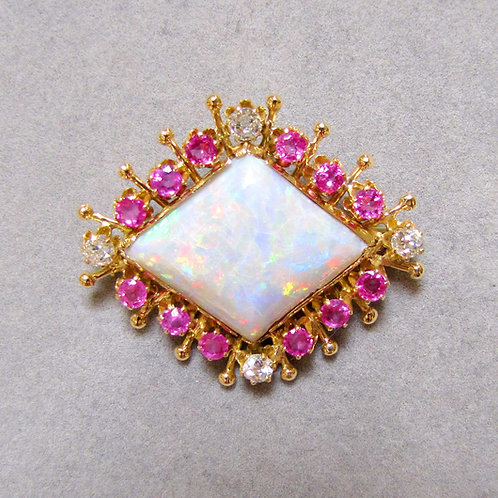 Victorian Opal, Pink Sapphire and Diamond Brooch