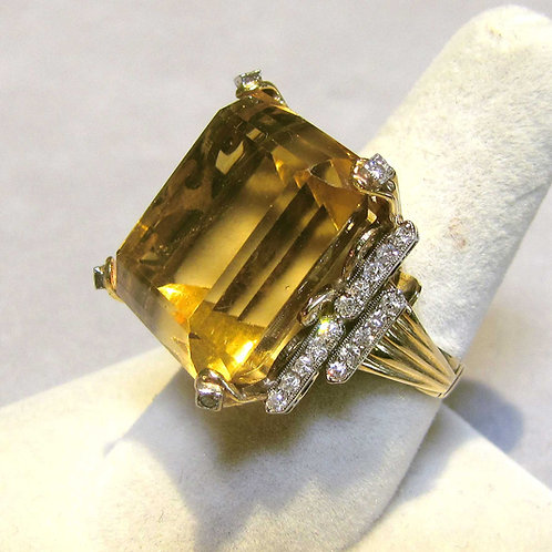 1940s 14K Large Citrine and Diamond Ring