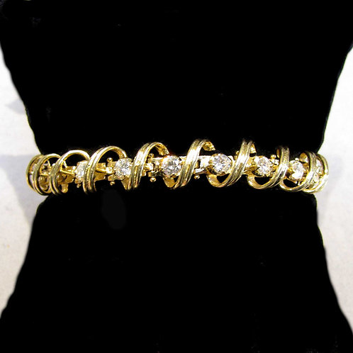 14K Looped Link Diamond Line Bracelet