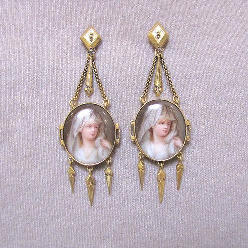 Victorian Hand Painted Porcelain Drop Earrings