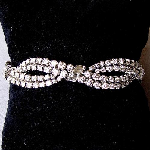 Fabulous 18K White Gold Diamond Woven Pattern Bracelet