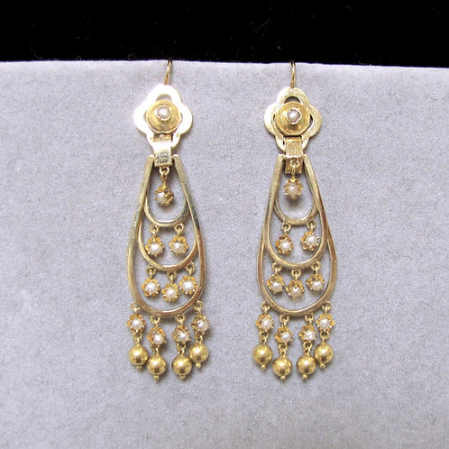Victorian 18K Gold and Pearl Long Drop Earrings