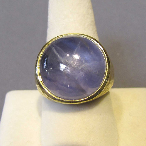 Large Blue Star Sapphire Hammered Texture Ring