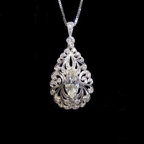 Platinum & 18K White Gold Teardrop Pendant with Marquise Diamond