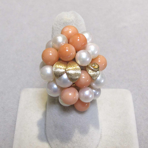 Pink Coral and Pearl Cluster Ring