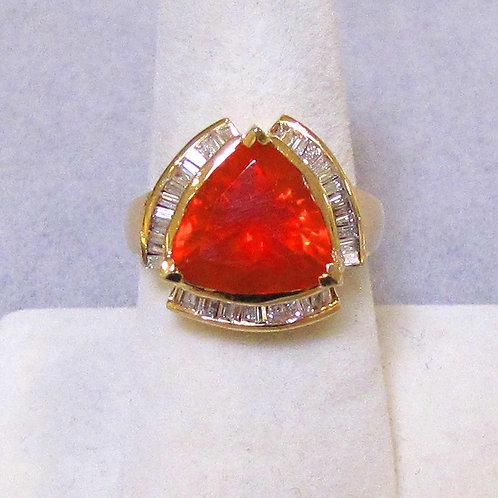 14K Trillion Cut Fire Opal and Diamond Ring