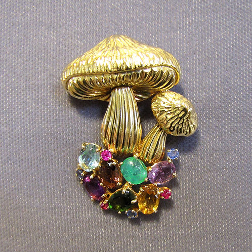 18K Multicolor Gemstone Mushroom Brooch