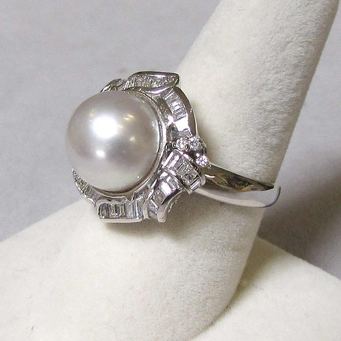 White Gold South Sea Pearl and Diamond Ring