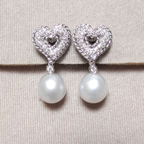 White Gold Diamond and South Sea Pearl Earrings