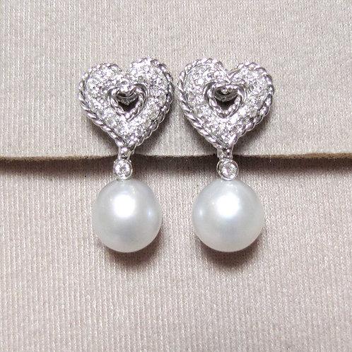 White Gold Diamond and South Sea Pearl Earrings