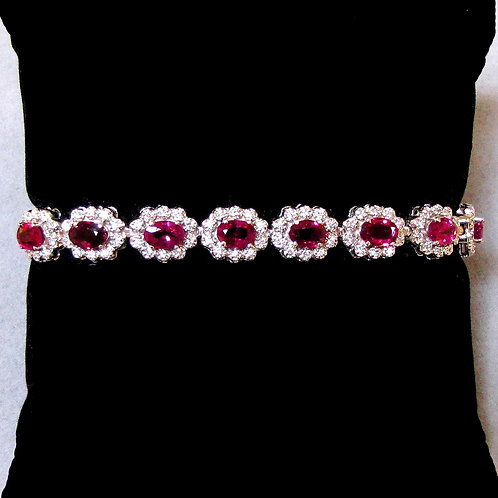 White Gold Ruby and Diamond Cluster Line Bracelet