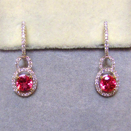 18K Vivid Pink Natural Spinel and Diamond Drop Earrings