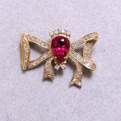14K Pink Tourmaline and Diamond Bow Brooch