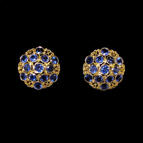 18K Filigree Blue Sapphire Button Earrings
