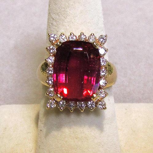 Cushion Cut Deep Pink Tourmaline and Diamond Ring