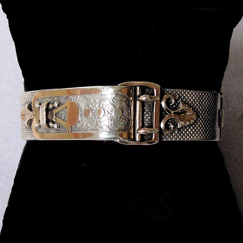 Antique 19th Century French Silver Buckle-Design Bangle Bracelet