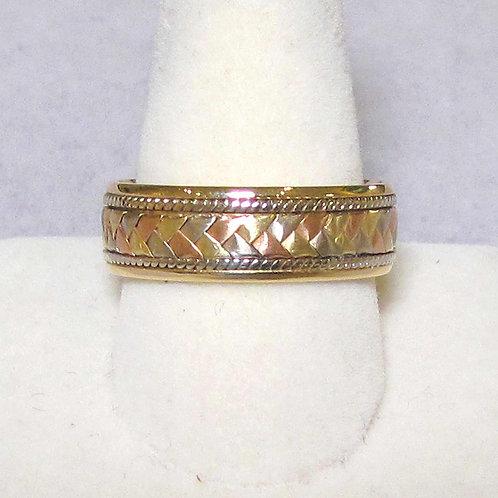 14K Tri-Color Woven Design Men's Band Ring