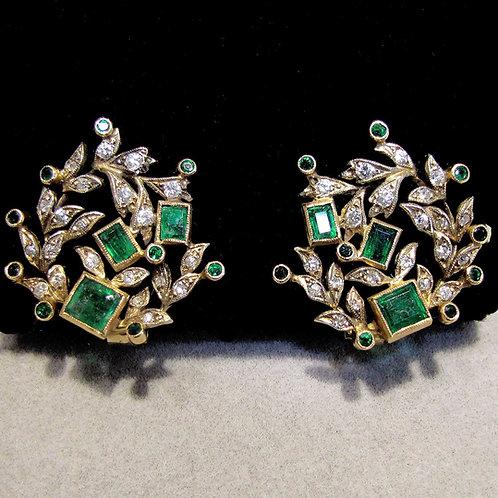 Emerald and Diamond Fancy Openwork  Earrings