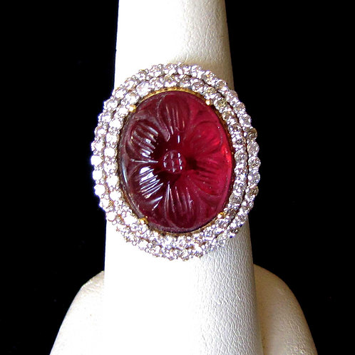 18K Carved Rubelite Tourmaline and Diamond Ring