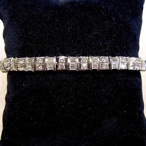 White Gold Baguette and Round Diamond Line Bracelet