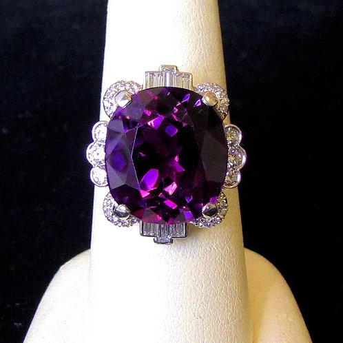 Art Deco Platinum Amethyst and Diamond Ring