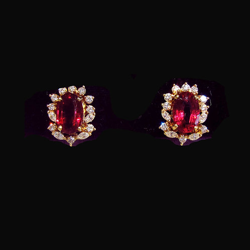 Fine Red Rubelite Tourmaline and Diamond Earrings