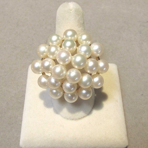 Large Yellow Gold Pearl Cluster Ring