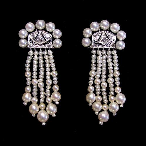 White Gold Pearl and Diamond Multi-Drop Earrings